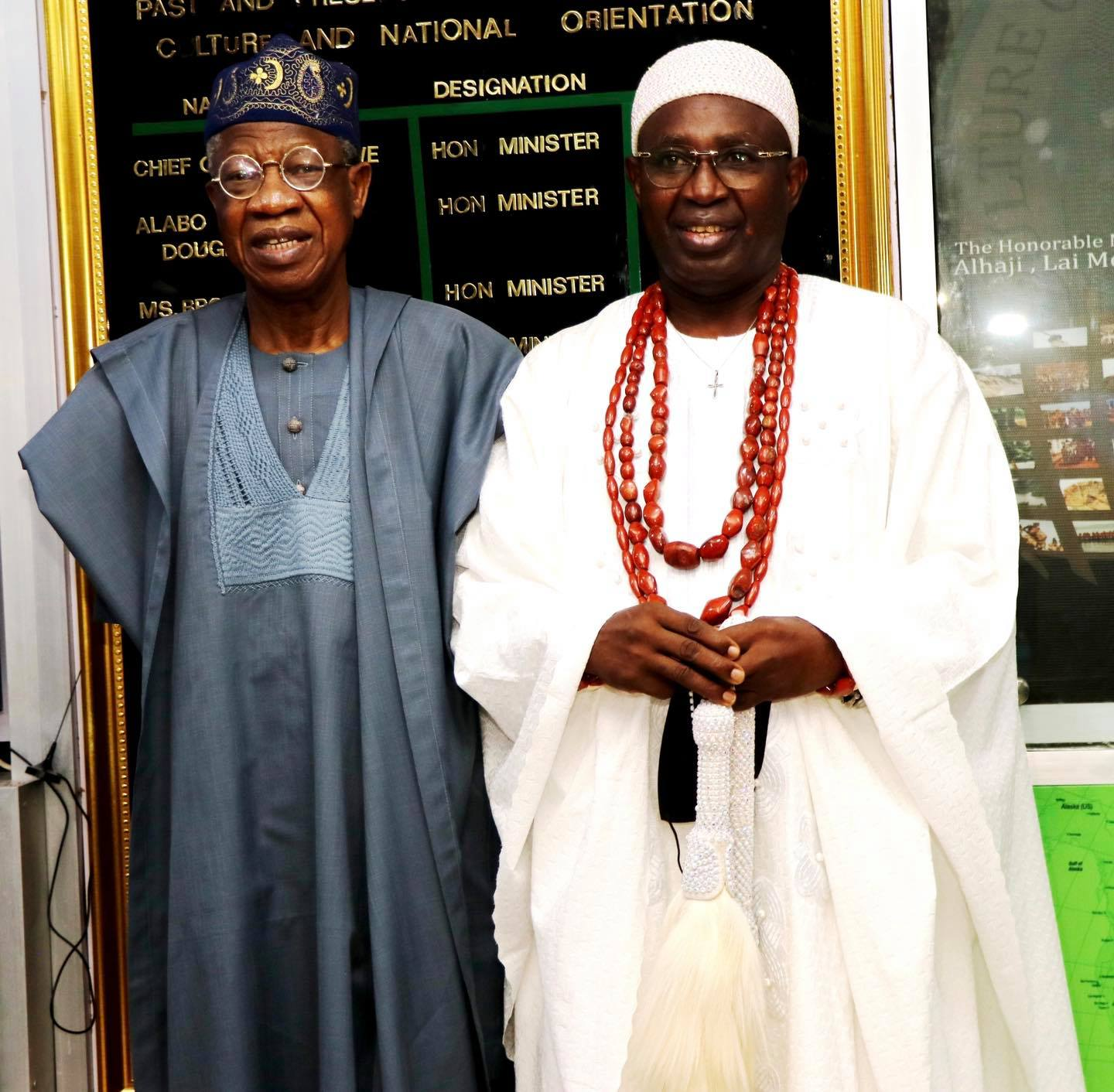 Minister of Information and Culture, Alhaji Lai Mohammed, and the Oluyin of Iyin-Ekiti, Oba Adeola Adeniyi Ajakaiye, during a courtesy visit to the Minister by the Royal Father in Abuja on Thursday.