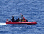 In this handout image courtesy of the US Coast Guard the Coast Guard Cutter Resolute small boat crew rescues 8 people from the water approximately 18 miles southwest of Key West, Florida, May 27,2021.