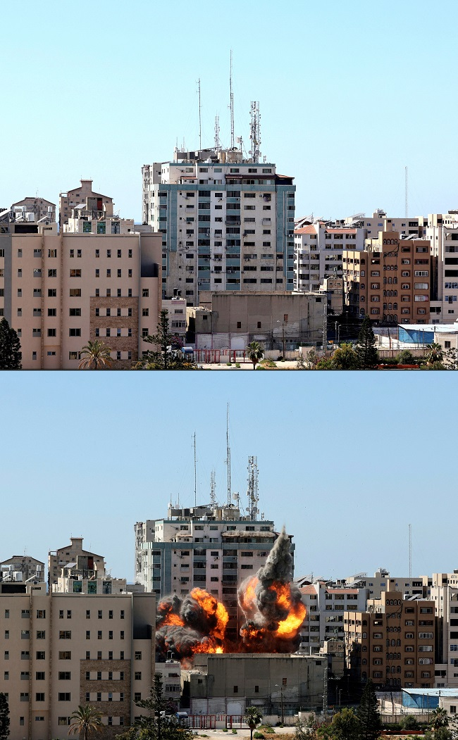 Israel alleged Tuesday that a Gaza media building it destroyed was used by Hamas to jam air defenses