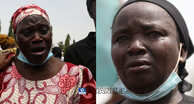 'Please Help Us!' Mothers Of Abducted Kaduna Student Weep During Protest At NASS