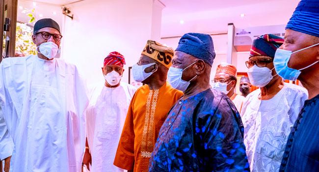 PHOTOS: Tinubu, Akande, Others Visit Buhari Over Military Plane Crash