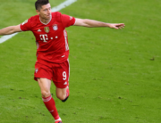 Bayern Munich's Polish forward Robert Lewandowski celebrates after scoring the 3-0 during the German first division Bundesliga football match FC Bayern Munich v Borussia Moenchengladbach in Munich, southern Germany on May 8, 2021. MATTHIAS SCHRADER / POOL / AFP