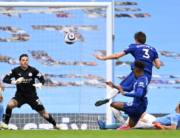 Chelsea's Spanish defender Marcos Alonso (2nd R) shoots to score their late winner during the English Premier League football match between Manchester City and Chelsea at the Etihad Stadium in Manchester, north west England, on May 8, 2021. Chelsea won the game 2-1. Laurence Griffiths / POOL / AFP