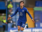 Chelsea's German midfielder Kai Havertz celebrates after scoring their second goal during the English Premier League football match between Chelsea and Fulham at Stamford Bridge in London on May 1, 2021. Justin Setterfield / POOL / AFP