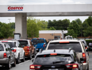 Cars line up to fill their gas tanks at a COSTCO at Tyvola Road in Charlotte, North Carolina on May 11, 2021. Logan Cyrus / AFP