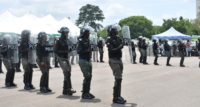 Police officials line up at the launch of a new, special operation for the South-East in Enugu on May 18, 2021.