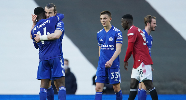 Leicester City's players react at the final whistle during the English Premier League football match between Manchester United and Leicester City at Old Trafford in Manchester, north west England, on May 11, 2021. Dave Thompson / POOL / AFP