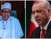 A photo combination of President Muhammadu Buhari and his Turkish counterpart Recep Tayyip Erdoğan.