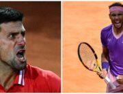 A photo combination of Tennis legends, Novak Djokovic and Rafael Nadal.