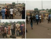 This combination of photos shows people gathered at the scene of a road crash in Ondo State on May 8, 2021.