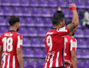 Atletico Madrid's Uruguayan forward Luis Suarez celebrates after scoring during the Spanish league football match Real Valladolid FC against Club Atletico de Madrid at the Jose Zorilla stadium in Valladolid on May 22, 2021. CESAR MANSO / AFP