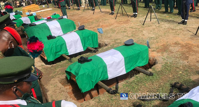 The late Chief of Army Staff, Lieutenant-General Ibrahim Attahiru and 10 other officers were buried on May 22, 2021 at the National Military Cemetery in Abuja. Sodiq Adelakun/Channels Television