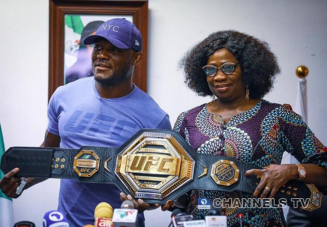UFC Champion Kamaru Usman visited Chairman of the Nigerians in Diaspora Commission, Hon. Abike Dabiri-Erewa on June 11, 2021 in Abuja.