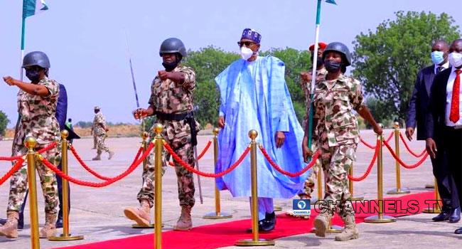 Buhari Visits Borno, Addresses Troops Fighting Insurgency