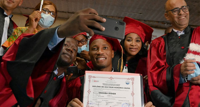 Drogba has been awarded an honorary degree by the University of Sciences and Technology of Africa Network (RUSTA) in Abidjan, Cote D'Ivoire.