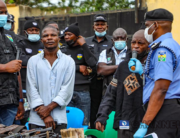 The police paraded persons suspected to have vandalised rail tracks in June 2021.