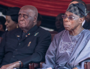 In this file photo taken on September 14, 2019 Former Zambian President Kenneth Kaunda (L) and former Nigerian President Olusegun Obasanjo (R) attend a farewell ceremony for late Zimbabwean President Robert Mugabe, held for family and heads of state at the National Sports Stadium in Harare. Zinyange Auntony / AFP