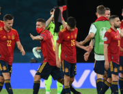 Spain's players react at the end of the UEFA EURO 2020 Group E football match between Spain and Poland at La Cartuja Stadium in Seville, Spain, on June 19, 2021. LLUIS GENE / POOL / AFP
