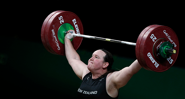 This file photo taken on April 9, 2018 shows New Zealand's Laurel Hubbard competing during the women's +90kg weightlifting final at the 2018 Gold Coast Commonwealth Games in Gold Coast. ADRIAN DENNIS / AFP