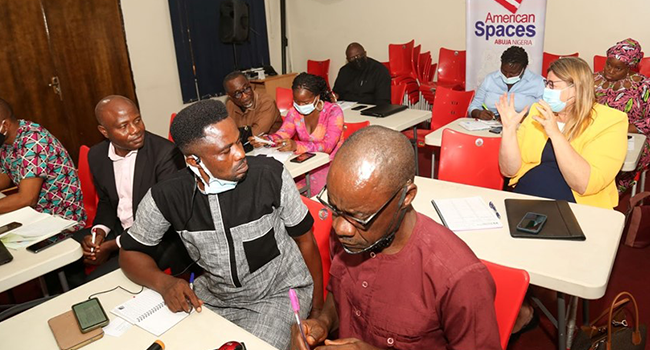 Media professionals attend a training organised by the US Embassy in collaboration with Channels Academy in June 2021.