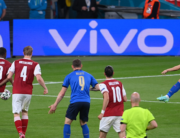 Italy's midfielder Federico Chiesa (R) shoots to score the team's first goal during extra time in the UEFA EURO 2020 round of 16 football match between Italy and Austria at Wembley Stadium in London on June 26, 2021. Laurence Griffiths / POOL / AFP