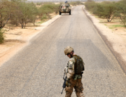 In this file photo taken on August 02, 2018 A German soldier from the parachutists detachment of the MINUSMA (United Nations Multidimensional Integrated Stabilization Mission in Mali) search for IED (improvised explosive device) during a patrol on the route from Gao to Gossi, Mali. SEYLLOU / AFP
