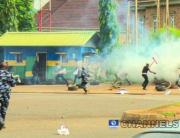 Police shot teargas at protesters in Abuja on June 12, 2021. Sodiq Adelakun/Channels Television