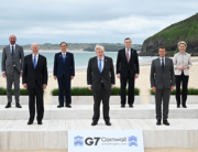 anada's Prime Minister Justin Trudeau, President of the European Council Charles Michel, US President Joe Biden, Japan's Prime Minister Yoshihide Suga, Britain's Prime Minister Boris Johnson, Italy's Prime minister Mario Draghi, France's President Emmanuel Macron, President of the European Commission Ursula von der Leyen and Germany's Chancellor Angela Merkel pose for the family photo at the start of the G7 summit in Carbis Bay, Cornwall on June 11, 2021. Leon Neal / POOL / AFP