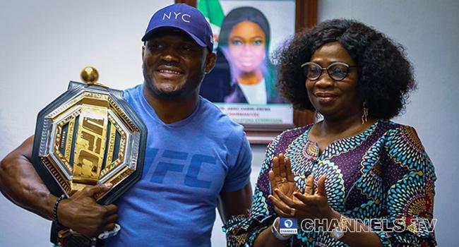 PHOTOS: UFC Champion Kamaru Usman Visits Diaspora Office In Abuja