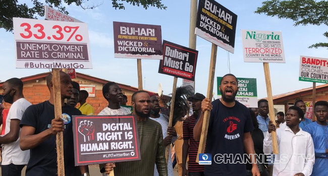 Protesters gathered at Gudu junction in Abuja on June 12, 2021 to protest the state of the nation.