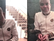 This photo released by Nigerian authorities on June 29, 2021 shows Mr Nnamdi Kanu in handcuffs.