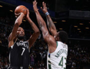 Kevin Durant #7 of the Brooklyn Nets shoots the ball during the game against the Milwaukee Bucks during Round 2, Game 1 of the 2021 NBA Playoffs on June 5, 2021 at Barclays Center in Brooklyn, New York.