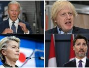 This photo combination shows US President Joe Biden, UK Prime Minister Boris Johnson, EU President Ursula von der Leyen and Canadian Prime Minister Justin Trudeau.