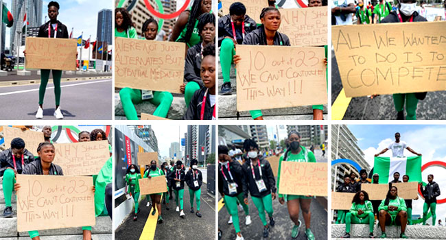PHOTOS: 'Dreams Shattered,' Disqualified Nigerian Athletes Protest In Tokyo