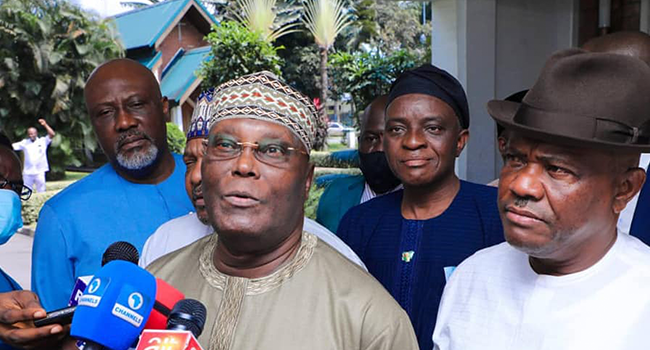 Former Vice President Atiku Abubakar spoke to reporters in Rivers State on July 29, 2021.