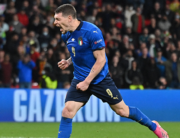 Italy's forward Andrea Belotti shoots and scores in a penalty shootout during the UEFA EURO 2020 semi-final football match between Italy and Spain at Wembley Stadium in London on July 6, 2021. JUSTIN TALLIS / POOL / AFP