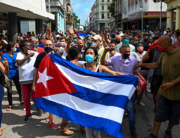 People take part in a demonstration to support the government of the Cuban President Miguel Diaz-Canel in Havana, on July 11, 2021. YAMIL LAGE / AFP