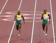 (L to R) Ivory Coast's Marie-Josee Ta Lou, Jamaica's Shelly-Ann Fraser-Pryce, Jamaica's Elaine Thompson-Herah and daniels compete in the women's 100m final during the Tokyo 2020 Olympic Games at the Olympic Stadium in Tokyo on July 31, 2021. Giuseppe CACACE / AFP