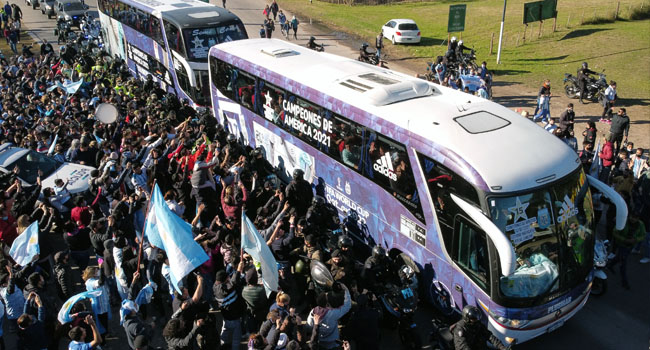 Fans Amass As Victorious Argentina Returns With Copa