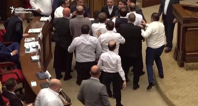Mass Brawl Breaks Out In Armenia Parliament