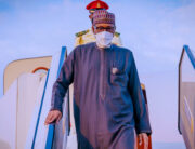 The President arrived in Abuja from the UK on August 13, 2021. Photo: Bayo Omoboriowo/State House
