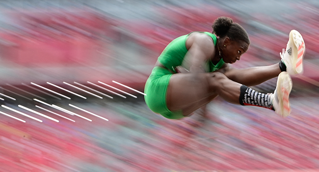 Nigeria's Ese Brume competes in the women's long jump final during the Tokyo 2020 Olympic Games at the Olympic Stadium in Tokyo on August 3, 2021. Javier SORIANO / AFP
