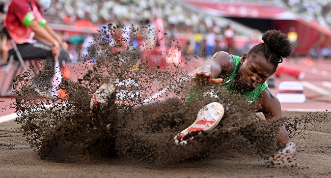 Nigeria's Ese Brume competes in the women's long jump qualification during the Tokyo 2020 Olympic Games at the Olympic Stadium in Tokyo on August 1, 2021. Andrej ISAKOVIC / AFP