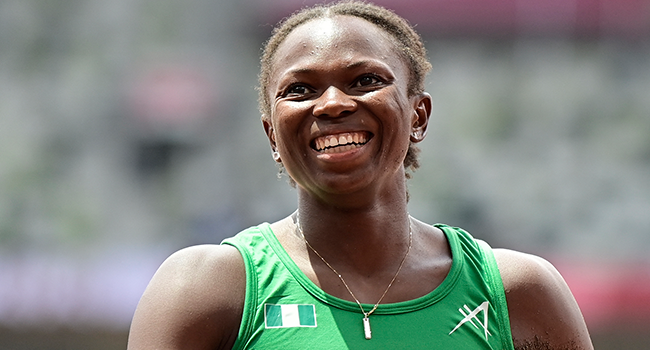 Nigeria's Ese Brume reacts as she competes in the women's long jump final during the Tokyo 2020 Olympic Games at the Olympic Stadium in Tokyo on August 3, 2021. Javier SORIANO / AFP