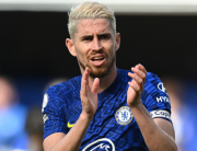 In this file photo taken on August 14, 2021 Chelsea's Italian midfielder Jorginho reacts at the final whistle during the English Premier League football match between Chelsea and Crystal Palace at Stamford Bridge in London. Glyn KIRK / AFP