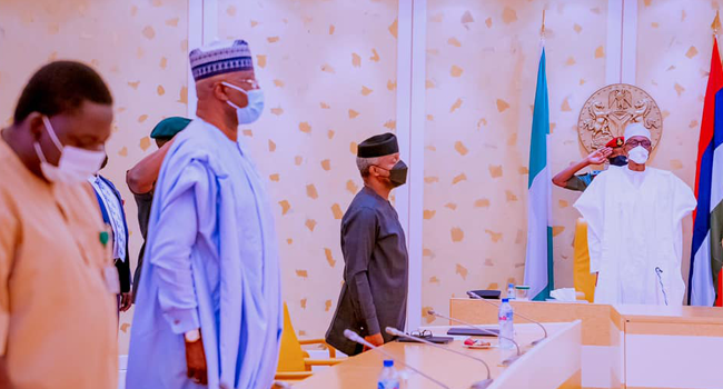 President Muhammadu Buhari participates virtually at the Nigeria Jubilee Fellows Programme in State House on August 31, 2021.