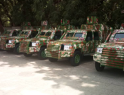 An image released by the Kebbi state government on August 21, 2021 showing armoured vehicles locally fabricated to help fight insecurity in the state.