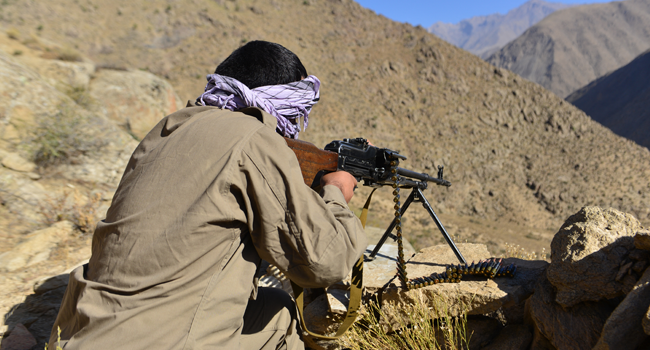 An Afghan resistance movement and anti-Taliban uprising forces personnel takes part in a military training at Malimah area of Dara district in Panjshir province on September 2, 2021 as the valley remains the last major holdout of anti-Taliban forces. Ahmad SAHEL ARMAN / AFP