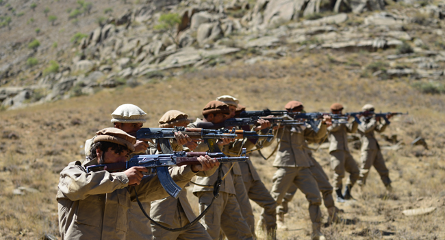 Afghan resistance movement and anti-Taliban uprising forces take part in a military training at Malimah area of Dara district in Panjshir province on September 2, 2021 as the valley remains the last major holdout of anti-Taliban forces. Ahmad SAHEL ARMAN / AFP