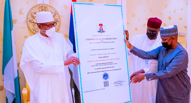 President Buhari Receives Certificate of Incorporation For NNPC